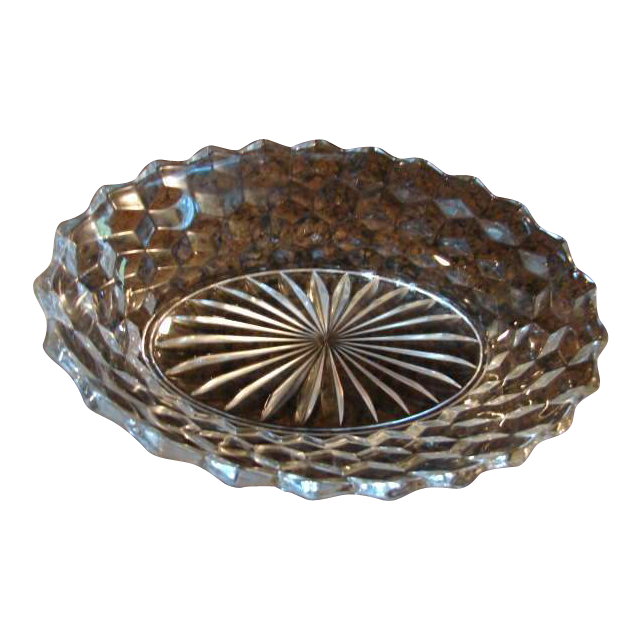 "Fostoria Glass American 9 ¼"" Oval Vegetable Bowl"