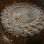 "2 Fostoria Glass American 9 ½"" Dinner Plates"