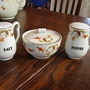 Hall China Jewel T Autumn Leaf Range Set Drip Bowl W/ Lid Salt & Pepper Shakers NM/M