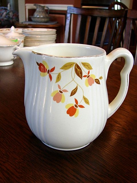 Hall's China Jewel Tea Autumn Leaf Rayed Milk Cream Pitcher Jug