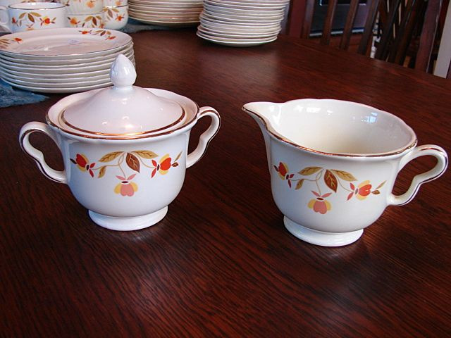Hall's China Jewel Tea Autumn Leaf  Lidded Sugar Bowl With Creamer