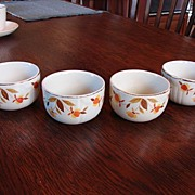 Hall's China Jewel Tea Autumn Leaf Custard Cups