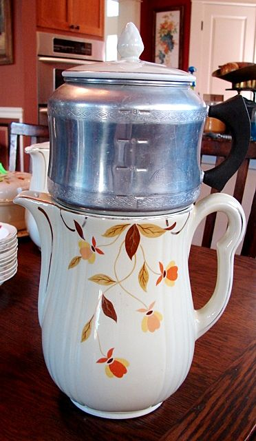 Hall's China Jewel Tea Autumn Leaf Drip Insert Coffee Pot W/scarce West Bend Aluminum Drip Set Complete