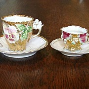 Antique Presentation Exquisite Prussia Germany  Rococo Porcelain China 2 Cups & Saucers Shipping Included