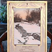 1934 Winter Solitude Print Advertising Pharmacy Calendar  Art Deco Arts & Crafts Design