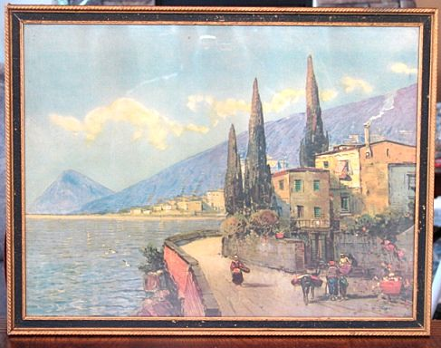 Early 20th Century 1920-1930s Mediterranean Print A Sunny Harbor Period Framing Original