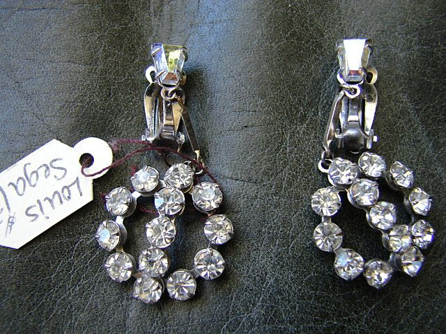 Costume Jewelry Designer Rhinestone Dangle Earrings Louis Segal California Vintage fine