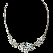 Vintage Blue Floral Garden Necklace