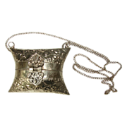 19th C Silver Plate Jewelry Casket Necklace