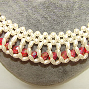 Vintage Gold White Fau Pearl  Bead Collar Necklace