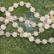 Vintage Rose Quartz Bead Necklace 24 inches