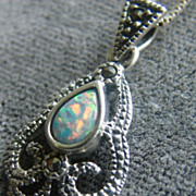 Sterling Silver Rainbow Opal Marcasite Pendant with Chain