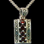 Antique Bohemian Garnet and Marcasite Pendant 925