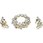 Round White  Rhinestone Brooch and Earring Wedding Set - Demi Parure Napier