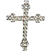 Vintage White Rhinestone Cross Brooch Pin