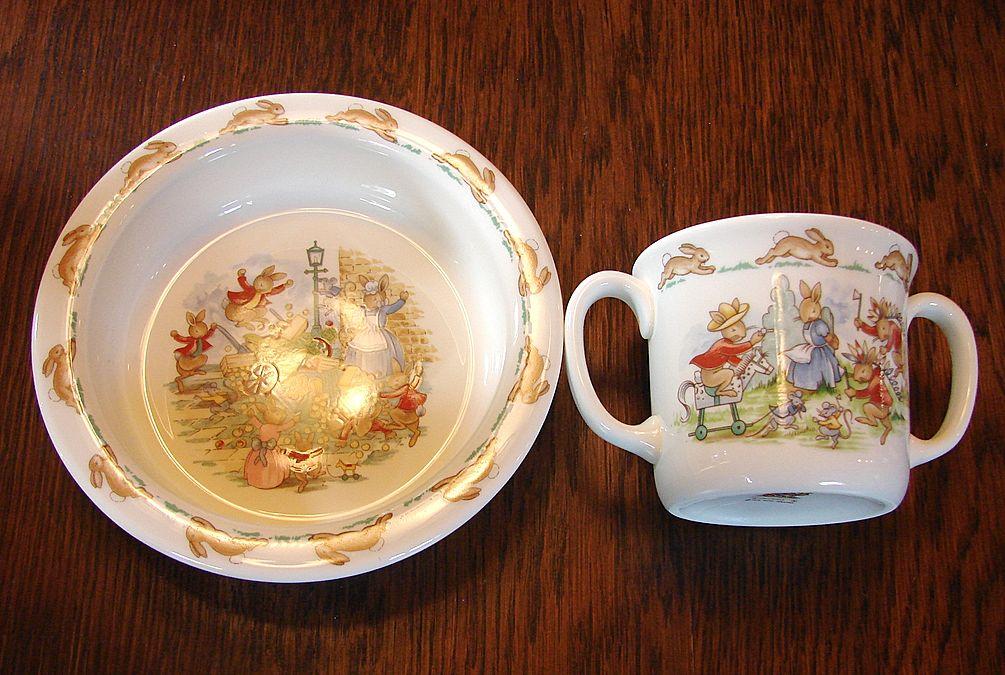 Vintage Royal Doulton Bunnykins Baby Set MIB Cup Bowl
