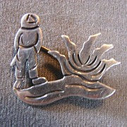 Sterling Scenic Pin Brooch Taxco Designer Maricela Mexico Vintage