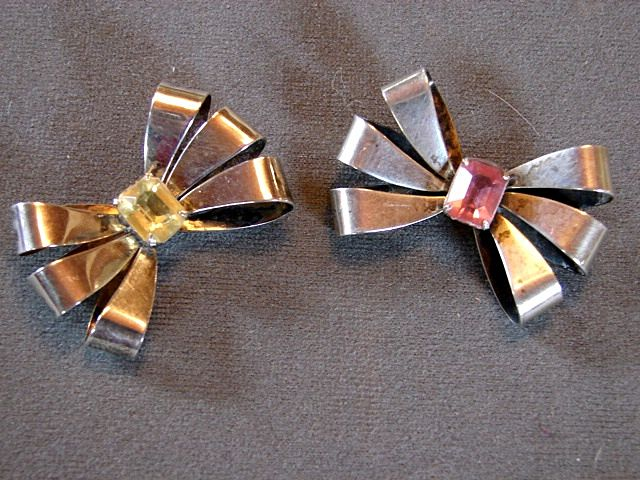 2 Sterling Silver Brooch Pins Citrine and Pink Emerald Cut Costume Jewelry