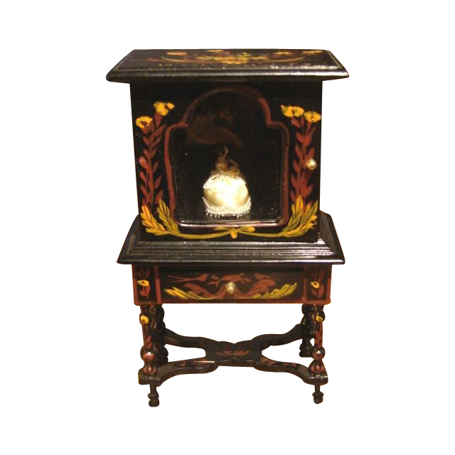 Cabinet Miniature Superb Japanned China Cabinet Vitrine  Miniature Dollhouse Furniture