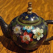 Cabinet Miniature Antique Cloisonné Chinese Teapot Child Lg Dollhouse Size