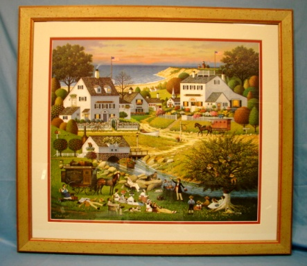 Charles Wysocki Limited Edition Print Hound of Baskervilles Lithograph Custom Frame & Glass  #782/1950