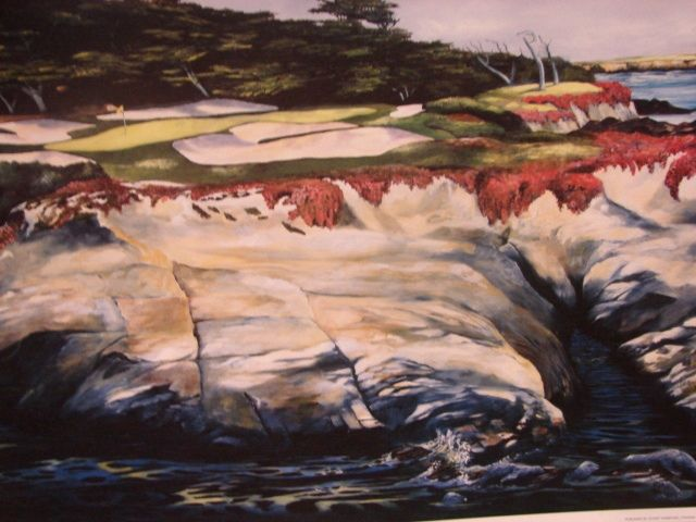 "Sports Golf Art Jason Denaro Limited Edition Print ""Harbor Seals 15th at Cypress Point (Monterrey)""  Famous Golf Courses Scarce Artist Proof"