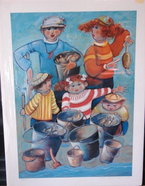 "Dixie Rogerson Limited Edition Print ""The Whole Clam Familyl""  Original Lithograph"
