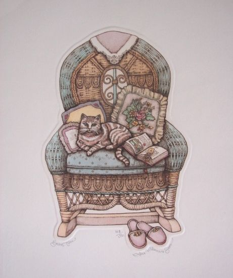 "Alice Scott Morris Fine Art Limited Edition Cat Print ""Break Time"" Vintage Etching"