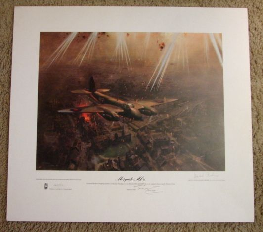 """Scarce Aviation WWII Limited Edition Print Terence Cuneo """"Mosquito Mk VI"""" artist & pilot signed 1978"""
