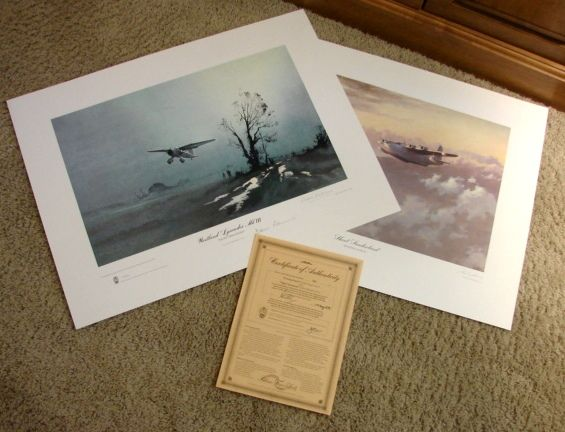 """Set Aviation WWII Limited Edition Prints John Young """"Evening Patrol"""" & Denis Pannett """"Night Operations"""" & COA 1979 British Spy signed"""
