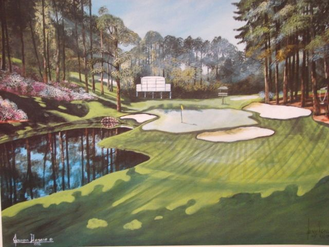 "Sports Golf Art Jason Denaro Limited Edition Print ""16th Augusta (Red Bud) Par 3 170 yards""  Famous Golf Courses Scarce Artist Proof"
