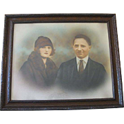 Fabulous Early 1900's Large Framed Tinted Photograph, Man and Woman