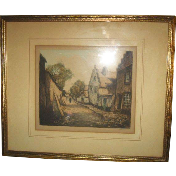 Lucien Dasselborne Original Artist's Proof Etching, Signed & Framed