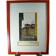 Vintage Framed Signed Watercolor Print, Warsaw Historic District