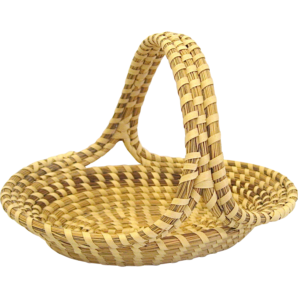 Handmade Baskets In South Carolina : Charleston sweetgrass basket oval with handle handmade