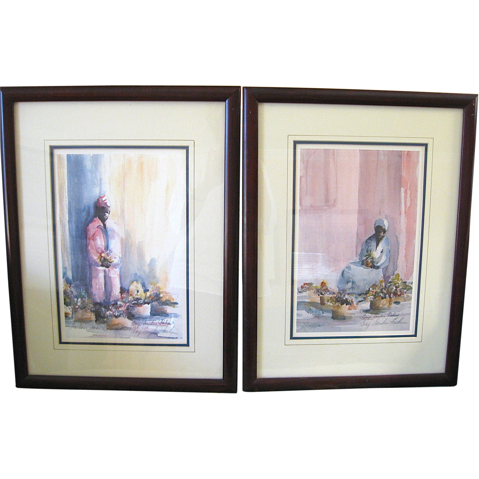 Pair of Framed Signed Gaye Sanders Fisher Charleston Flower Ladies Prints
