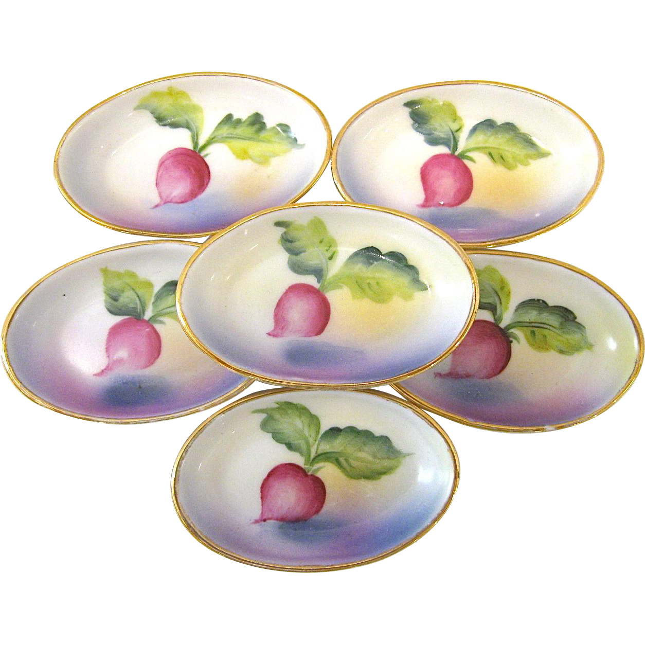 6 Noritake Hand Painted Radish Salts