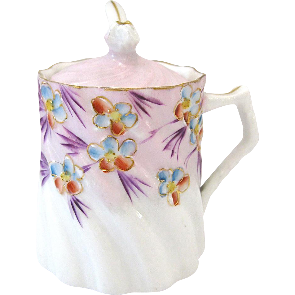 Vintage Porcelain Mustard Pot with Spoon, Hand Painted Flowers