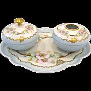 Limoges Porcelain Dresser Set, Dogwood Blossoms