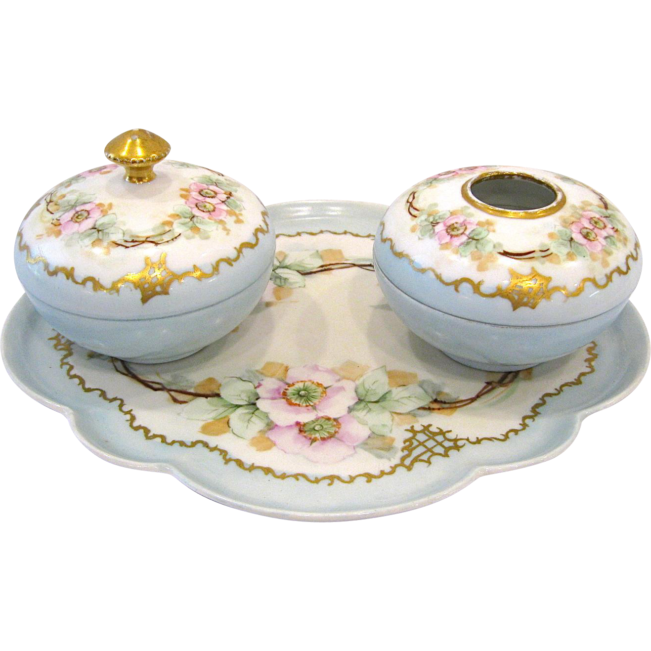 Limoges Porcelain Dresser Set, Dogwood Blossoms