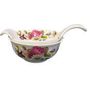 Vintage Tea Bag Holder/Strainer with Bowl, English Garden Flowers, Allyn Nelson Bone China