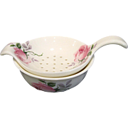 Vintage Pink Roses Bone China Tea Bag Holder Strainer with Bowl, Allyn Nelson