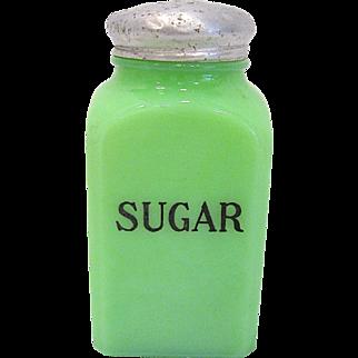 Jeannette Glass Square Jadite Salt Shaker