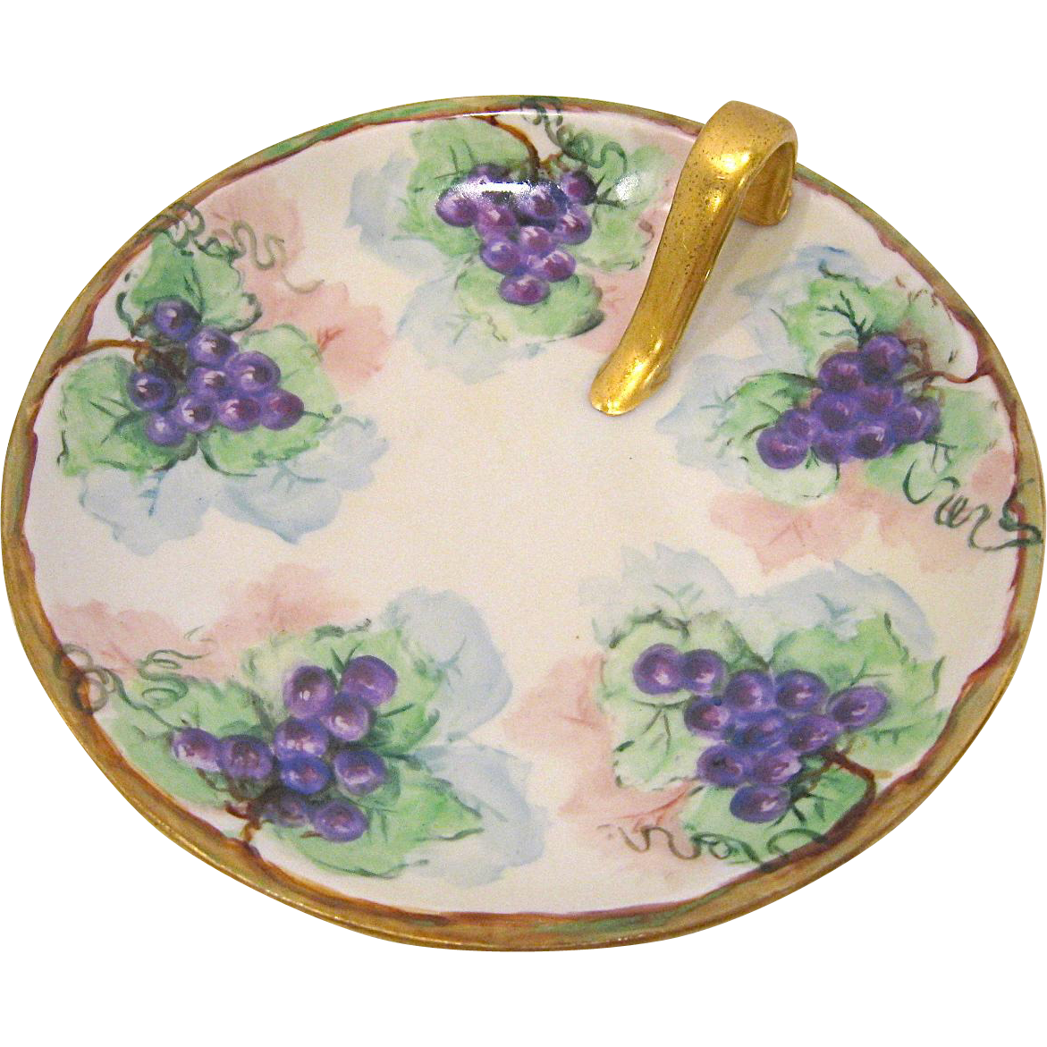 Bavaria Hand Painted Split Handle Bonbon Candy Dish