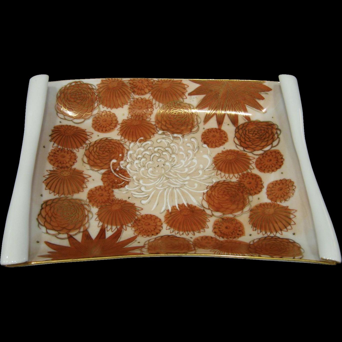 Vintage Kutani Chrysanthemum Rolled Rim Tray