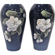 Pair of Royal Copenhagen Cobalt Floral Vases 1930s