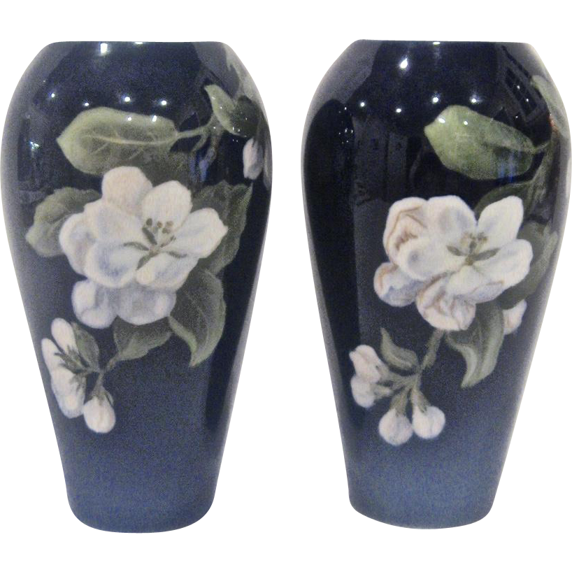 Pair of Royal Copenhagen Cobalt Floral Vases 1930s