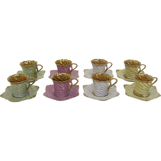 Set of 8 Ardalt Lenwile Demitasse Cups and Saucers