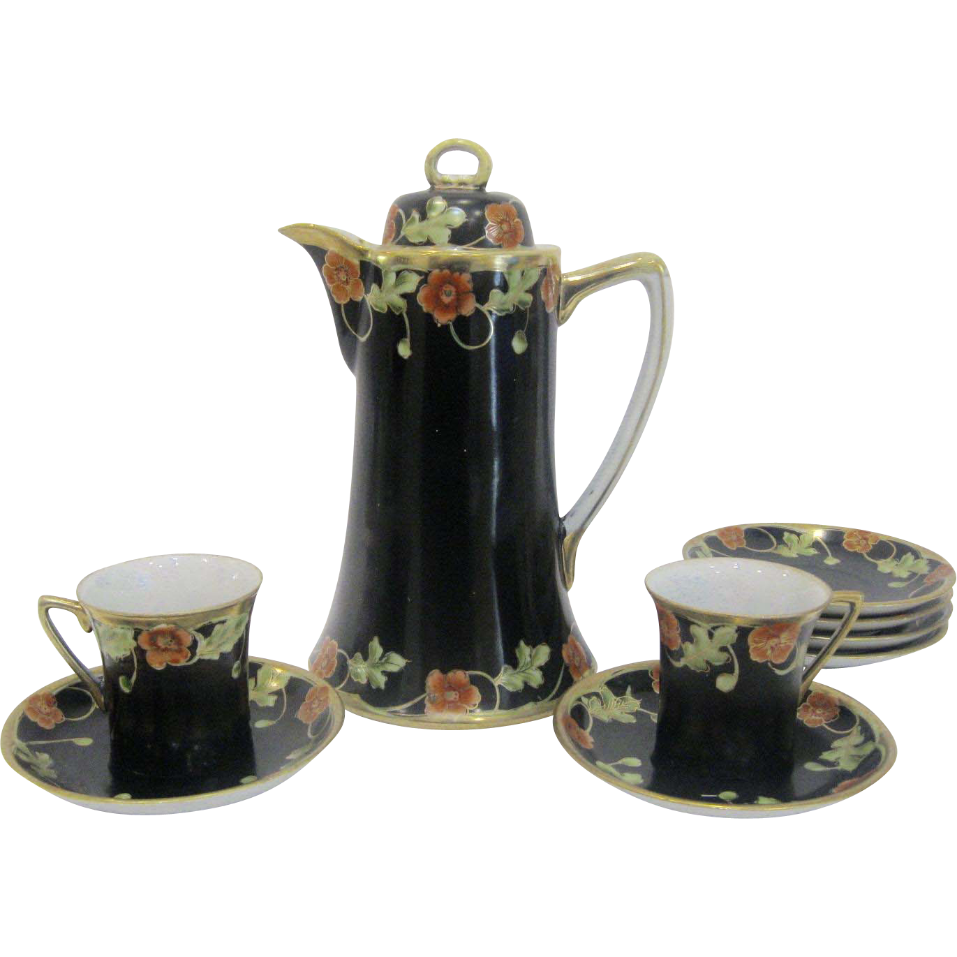 Rare Nippon Black & Floral Chocolate Pot Set