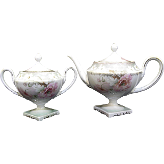 R S Prussia Footed Teapot and Sugar Bowl